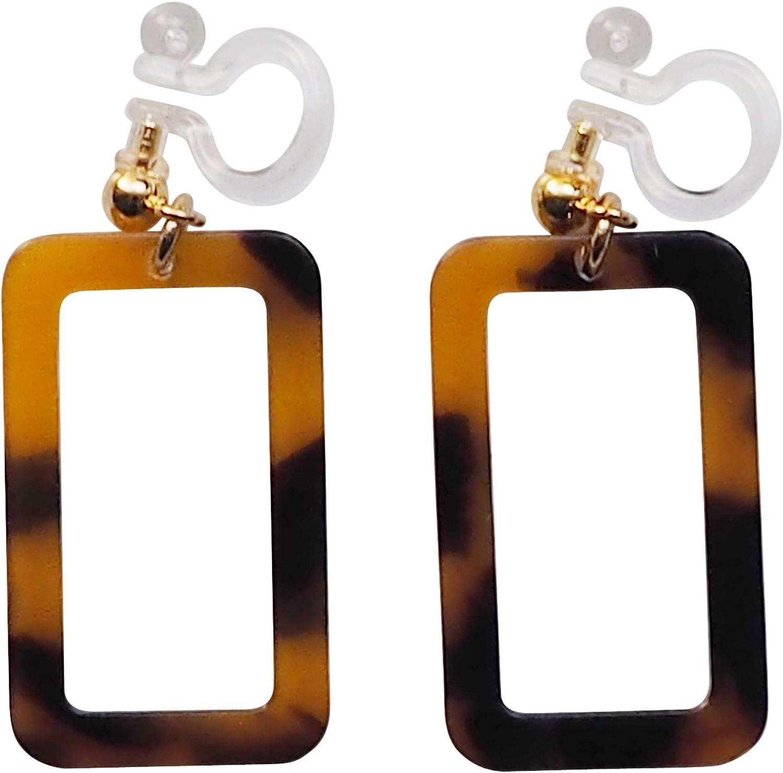 Miyabi Grace Brown Elegant Fuax Tortoise Shell Dangle Invisible Clip On Earrings Women Gold tone