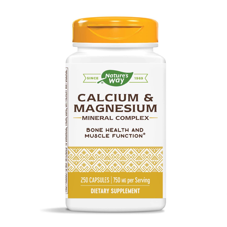 Nature's Way Calcium and Magnesium, Unflavored ,250 Capsules