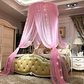 Round Tent Net Romance Lace Bed Canopy with Hook Curtain Tent Bed Curtain Easy Installation-White Diameter200cm(66inch)