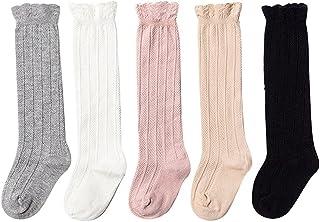 5 pares calcetines largos para Bebé Niños Niñas, niños rodilla calcetines