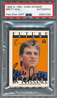 1988/89 O-Pee-Chee Opc Sticker Brett Hull PSA/DNA Cert Authentic Autographed Signed 7282