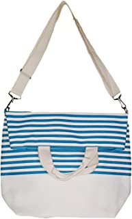 Messenger Style Inspired Stripe Beach Tote Bag