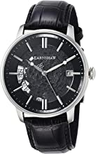 EarnShaw Men's Vancouver 44mm Black Leather Band Steel Case Automatic Analog Watch ES-8075-01
