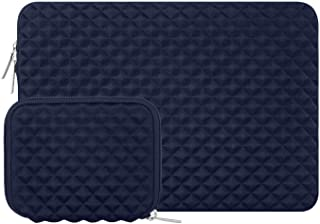 MOSISO Shock Resistant Diamond Foam Water Repellent Neoprene Laptop Sleeve Cover Bag Compatible with 13-13 3 Inch MacBook Pro Air  Notebook with Small Case  Navy Blue