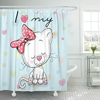 Emvency Shower Curtain Pussycat Cute Cartoon White Kitten on Blue Animals Animated Waterproof Polyester Fabric 72 x 72 Inches Set with Hooks