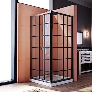 ELEGANT Framed Sliding Shower Enclosure 36 in.D x 36 in. W x 72 in. H,2 Stationary Panels 1/4'' Clear Glass Sliding Shower...