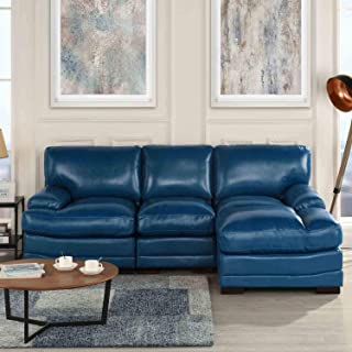 Navy Blue Leather Match Upholstered Sectional Sofa, L-Shape Modern Right Facing Chaise Sectional Furniture Couches, for Livingroom/Office