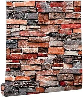 Homya brick pattern wallpaper 45 * 600cm 3D, PVC bedroom wallpaper living room wallpaper wall decoration furniture renovat...