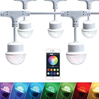 JLLEAD 1 Pack Led String Lights, 12M 40FT RGB Color Changing Hanging Light APP Controlled Waterproof Sync to Music Fairy Lights for Indoor and Outdoor Cafe Patio Commercial Party Holiday