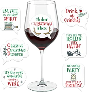 Funny Christmas Wine Glass Drink Markers - Wine Charms Alternative - 18 Static Cling Reusable Stickers (Xmas)