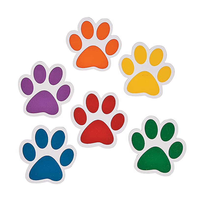 Fun Express Paw Print Cutouts - Bulletin Board Decor - 48 Pieces