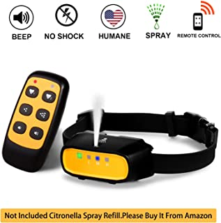 Spray Dog Training Collar with Remote Control,2 Modes Spray Dog Bark Collar (Not Included Citronella Spray),500 ft Range No Electric Shock Harmless,Rechargeable Waterproof (With Remote Control)