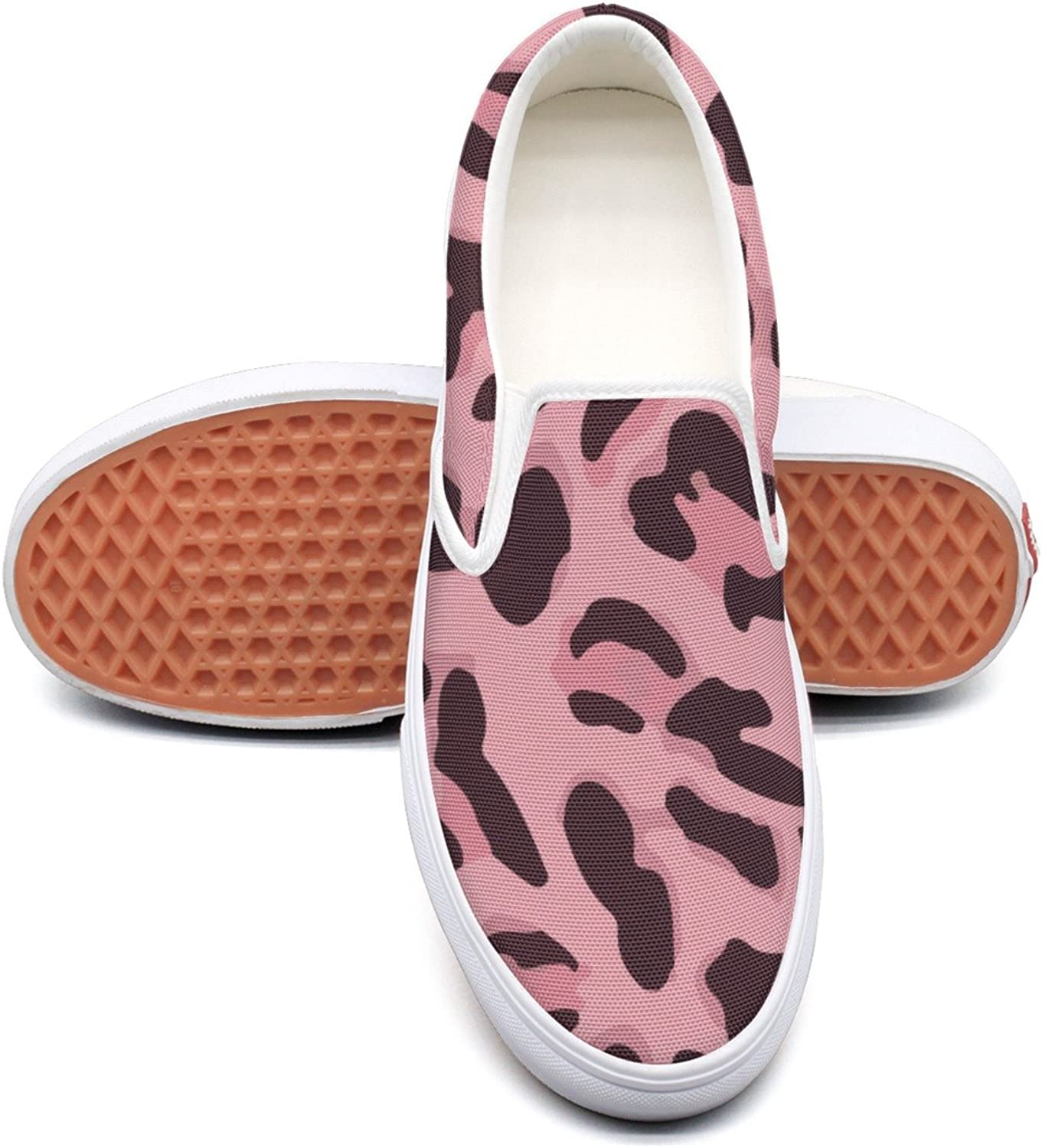 RegiDreae Canvas Slip On Sneakers for Women Animal Print Pink Fashion Sneaker