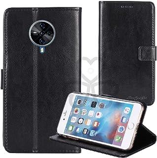 TienJueShi ブラック ビジネス レトロ 耐汚れ スタンド 財布 TPU Silicone シリコーン レザー 合皮 Case Cover Vivo S6 5G 6.44 インチ カード収納 カバー ケース ポーチ 手帳型