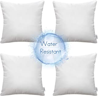 """Ashler Set of 4 Indoor and Outdoor Hypoallergenic Water Resistant Pillow Inserts Standard Square Polyester Sham 18"""" x 18"""""""