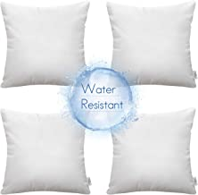 Ashler Set of 4 Indoor and Outdoor Hypoallergenic Water Resistant Pillow Inserts Standard Square Polyester Sham 20 x 20 Inches