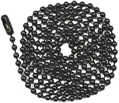 Number 6 Size Black Coated 10 Foot Length Ball Chain 10 Matching Connectors