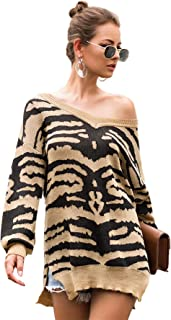 MAKEMECHIC Zebra Print Cardigan Pullover Knit Jumper with Slits