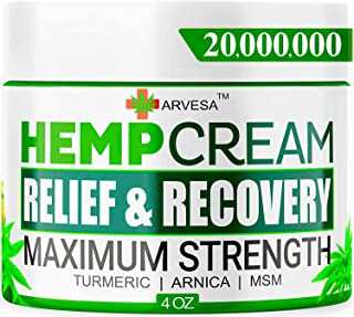 Hemp Cream - Relieve Muscle, Joint, Foot & Back with Hemp + Turmeric + Arnica | Natural Hemp Oil Extract Gel - Made in USA...
