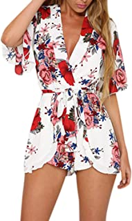 507d7c5cc4a Women Boho Floral Print V-neck 3 4 Flare Sleeve Playsuit Short Jumpsuit  Romper