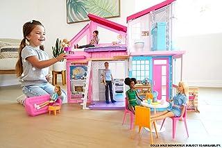 comprar comparacion Barbie Casa Malibu, casa de muñecas de dos pisos plegable con muebles y accesorios (Mattel FXG57)