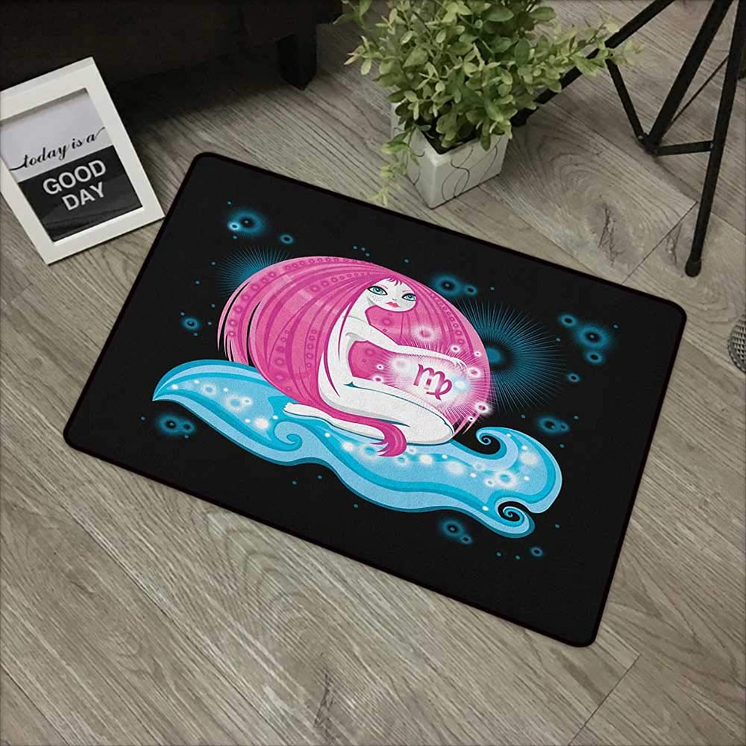 Restaurant mat W35 x L59 INCH Virgo,Cartoon Hgoldscope Symbol with Really Long Haired Girl Sitting on Wave in Space, Pink bluee Black Natural dye printing to predect your baby's skin Non-slip Door Mat C
