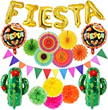 21 PCS Fiesta Party Decoration Mexican Party Decoration Fiesta and Cactus Balloons Paper Fan Pompoms Triangle Bunting Banner for Fiesta Mexican Cinco De Mayo Party