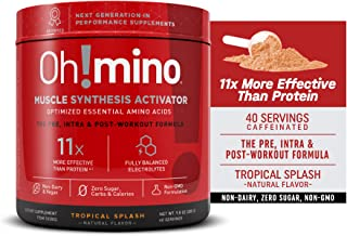 Oh!mino Muscle Synthesis Activator Newly Flavored (Caffeinated, 40 Servings 280grams) Amino Acids Supplement, Electrolytes...