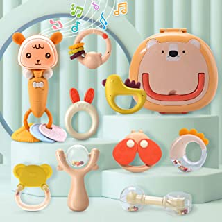 CUTE STONE Baby Rattles Teether Rattles Toys Set,Electronic Grab Shaker with Music and Light,Musical Toy Set with Bonus Storage Box,Early Educational Toys for 3, 6, 9, 12 Month Infant Newborn Boy Girl