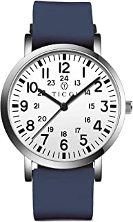 TICCI Unisex Men Women Medical Quartz Watch Arabic Numerals Military Time Easy Read Dial Silicone Band Waterproof for Students Doctors Nurses