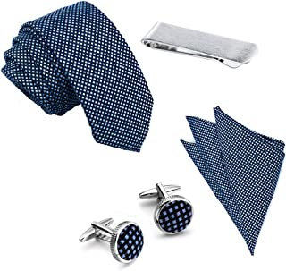 Men's Ties 2.4 inch Woven Necktie Pocket Square Set with Cuffinks and Tie Clip in Gift Box for Wedding