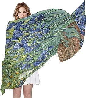 AUUXVA Watercolor Van Gogh Iris Flower Women Silk Scarf Lightweight Long Soft Chiffon Shawl Wrap Neck Scarves Muffler for Ladies Girls Men