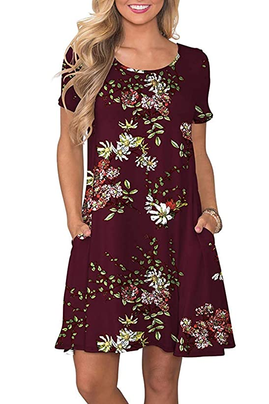 Fantastic Zone Women's Casual Summer T Shirt Dresses Short Sleeve Swing Dress with Pockets
