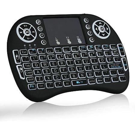 Mini Teclado inalámbrico con Panel táctil, retroiluminado, Mando a Distancia de ratón, Compatible con Android TV Box, Smart TV, proyector, PC y más ...