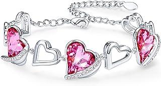 Love Heart Bracelets for Women Rose Gold Plated Link...