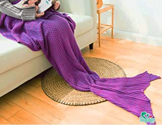 Hughapy174; Handmade Soft Crochet Sea Mermaid Tail Blanket for Teen/ Adult,All Seasons Knitted Seatail Sleeping Bag,(Medium Adult,7132IN,Purple)