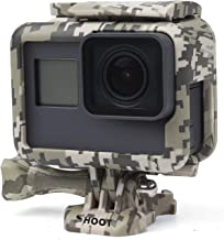 SHOOT Camouflage Gray Protective Frame Mount Stand Housing Case for GoPro Hero 7 Black/Hero 6/5/HERO(2018) Side Open Mount Shell Cover for Go Pro Hero 5 Action Camera Accessories