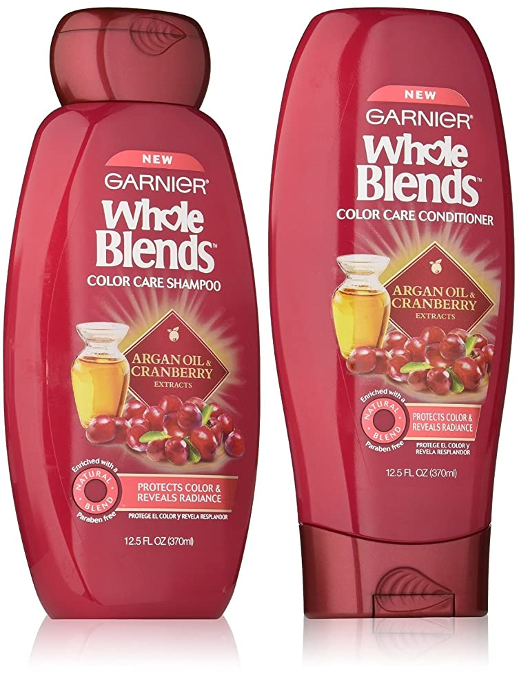 Garnier Whole Blends Color Care Shampoo and Conditioner Set with Argan Oil and Cranberry Extracts, 12.5 Ounces each