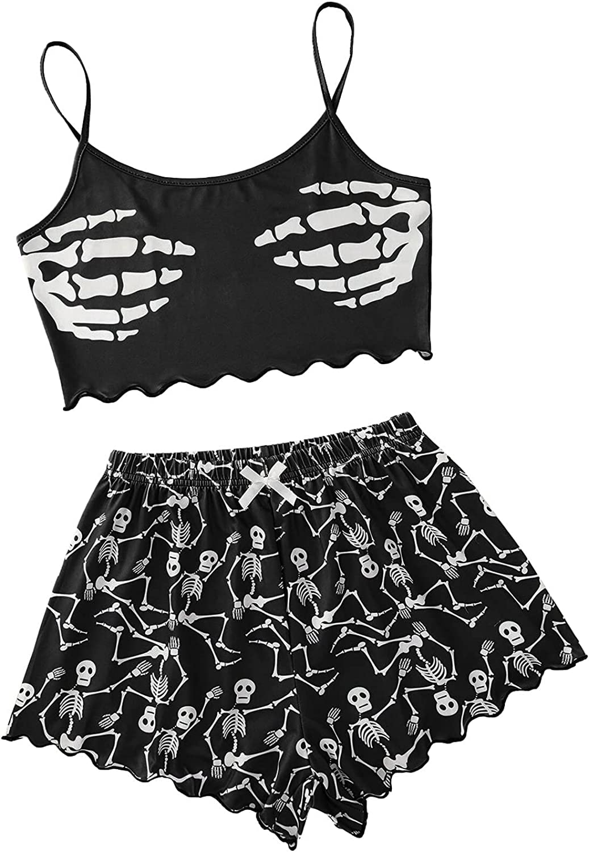 Women Sexy Sleepwear Set Halloween Skeleton Print Pajamas Fashion Sleeveless Cami Crop Top Shorts Suit Home Tracksuit