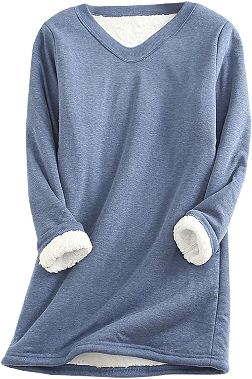 Thatso Women Thermal Underwear, Christmas Solid Warm Sherpa Fleece Lined Crewneck Undershirt Tees Tops Blouse Loungewear(L,Blue)