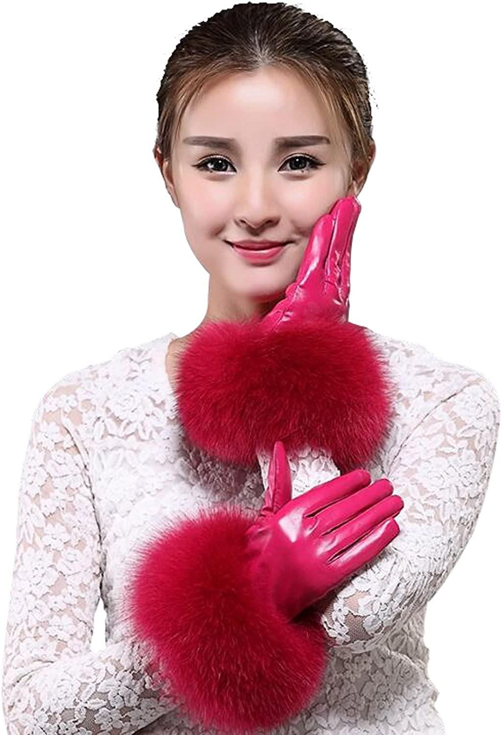 Easting Women's Genuine Lambskin Leather Gloves with Fox Fur Trim Multicolor
