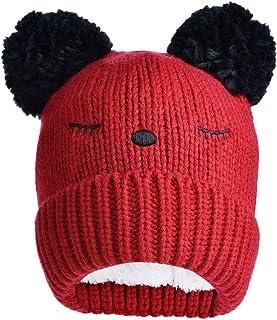 قبعة صغيرة دافئة للشتاء للأولاد والبنات منسوجة قبعة صوفية سميكة من القطيفة قبعات الأطفال مع بوم بوم