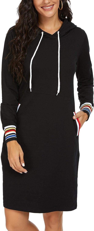 Kormei Damen Langarm Hoodie Bodycon Stretch Sweatshirt Midi Kleider mit 2 Taschen Black#2