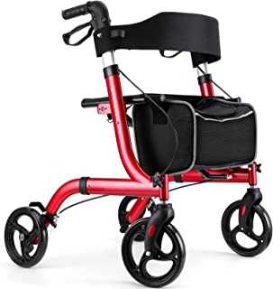 Healconnex Rollator Walkers for Seniors-Folding Rollator Walker with Seat and Four 8-inch Wheels-Medical Rollator Walker w...