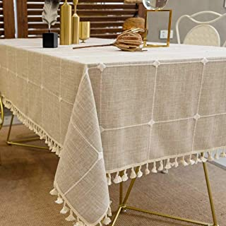 Deep Dream Tablecloths, Embroidered Checkered Table Cloth Cotton Linen Wrinkle Free Anti-Fading Table Cover Decoration for Kitchen Dinning Party, 55 x 120 Inch - Light Brown