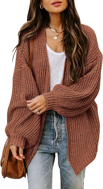MIROL Women's Oversized Long Sleeve Cardigan Sweater Solid Chunky Knit Open Front Outwear Tops
