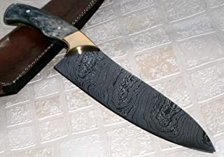 RK-237 B, Style Damascus Steel Chef Knife – Brass Bolsters & Colored Bone Handle