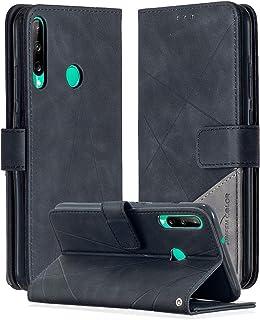 جراب SHUNDA لهاتف Huawei Y7p ، جراب محفظة جلد مغناطيسي مع فتحة بطاقة وجيب لهاتف Huawei Y7p - أسود
