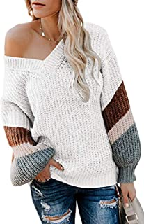 Women's V Neck Long Sleeve Striped Knitted Chunky Pullover Sweater