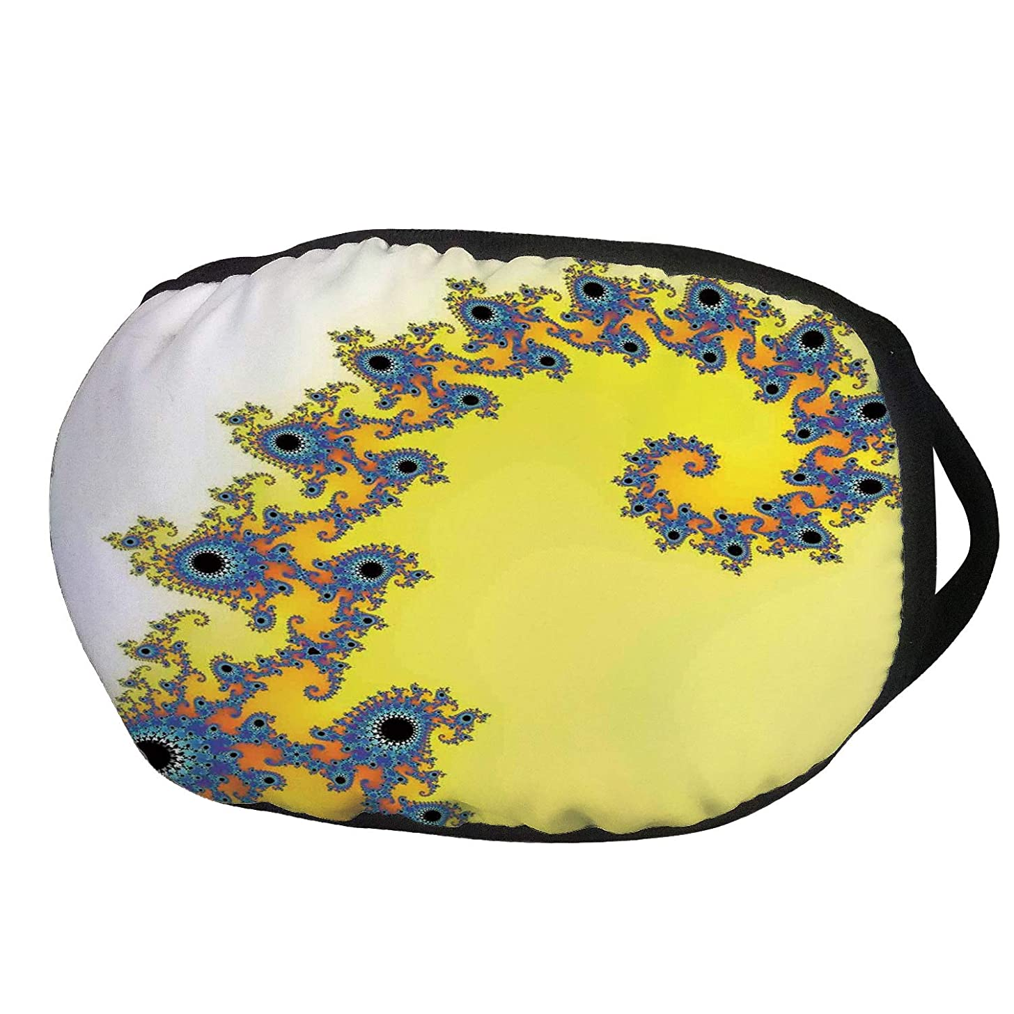 Fashion Cotton Antidust Face Mouth Mask,Fractal,Trippy Seahorse Pattern with Vortex Turning Swirled Petals Fantasy New Image,Earth Yellow Blue,for women & men
